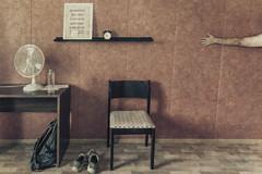 Room 8, Mataran Puuro ja Peti, Jämsänkoski (pni) Tags: interior whereiam hotelhobbies me self selfportrait man hand arm wall chair shoes backpack fan clock sign bottle table floor room8 mataranpuurojapeti bedandbreakfast bedbreakfast bb jämsänkoski finland suomi pekkanikrus skrubu pni