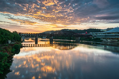 Sunrise Surprise (tquist24) Tags: alleghenyriver fortwaynecoveredbridge hdr nikon nikond5300 outdoor pennsylvania pittsburgh bridge city clouds downtown geotagged morning reflection reflections river sky tree trees water unitedstates
