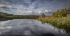 Paint me a picture (paullangton) Tags: wales brecon lake clouds llangorse mountain trees green blue bulrush thatch reflection autumn longexposure canon nature countryside scenery 5dmk3