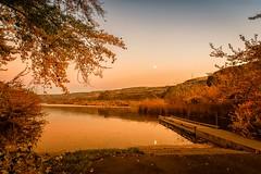 Moonstruck (KPortin) Tags: hss lake deeplake dock moon sunset reflections autumn sunlakesdryfallsstatepark grantcounty