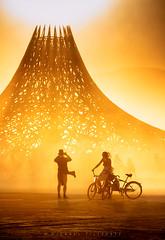 Temple Silhouette at Sunset (Mike Filippoff) Tags: burningman burningman2018 dust playa blackrock mountains silhouette sunsetglow colorful structure irobot people nikonflickraward