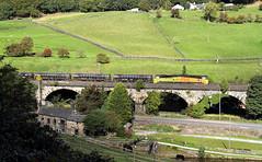 Side-On 70 At Horsfall. (Neil Harvey 156) Tags: railway 70802 horsfallviaduct horsfalltunnel todmorden caldervalley prestondockstanks prestontanks bitumentanks 6e32 class70 colasrail colas
