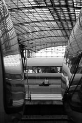 Platform Yoga (ucn) Tags: berlin zeissikondonata2277u rollexpatent6x9cm tessar135cmf45 street hauptbahnhof railroadstation railwaystation filmdev:recipe=12035 rolleirpx400 moerschecofilmdeveloper film:brand=rollei film:name=rolleirpx400 film:iso=400 developer:brand=moersch developer:name=moerschecofilmdeveloper