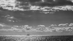 The glittering baltic sea (Maike B) Tags: glitzer glitter balticsea dänemark seeland monochrome horizont wolken cumulus clouds