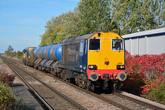 20305 3S11 Sherburn-in-Elmet (British Rail 1980s and 1990s) Tags: train rail railway loco locomotive er easternregion mainline yorkshire livery liveried traction diesel station freight railfreight ee englishelectric type1 br britishrail 20 class20 rhtt 3s11 drs directrailservices 20302 20305 railroad