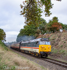 20181004-IMG_2438 (deltic21) Tags: severn valley railway svr severnvalley preserved preservation diesel power traction heritage classic transport wheel wheels motion loco locos locomotive train trains rail rails track tracks br british type class restored restoration moving railways trees outdoor outside nature bewdley kidderminster bridgenorth shropshire worcestershire midlands engine clag 50031 50 alliance hood log hoover large logo ee english electric blue sunshine skies inter city