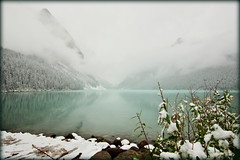 Lake: 0, mist: 1 (Canada) (armxesde) Tags: pentax ricoh k3 canada kanada banff banffnationalpark rockymountains alberta mountain berg lake see wasser water spiegelung reflection lakelouise nebel mist fog schnee snow