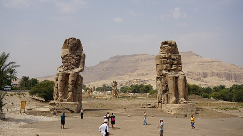 The Colossi of Memnon, West Bank, Luxor, Egypt.