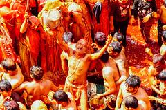 Reveling Man Celebrating Holi in Shri Dauji Temple, Chhabria (AdamCohn) Tags: 016kmtobaldevinuttarpradeshindia abeer adamcohn baldev chhabria india shridaujitemple uttarpradesh colors geo:lat=27408255 geo:lon=77821863 geotagged gulal holi play wwwadamcohncom अबीर गुलाल baldeo