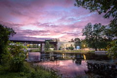 Spring Side Sunrise (Dan Fleury Photos) Tags: reflections train bridge sky cloud river warm sunrise greaternapanee canada ontario cans2s napanee