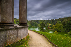 View From Apollo (James Etchells) Tags: stourhead garden gardens nt national trust wiltshire south west england uk britain pantheon temple apollo turf bridge grotto gothic cottage landscape landscapes trees tree forest wood woods outdoor outdoors water lake reflection reflections symmetry sky clouds explore exploration grass colour color autumn photography architecture historic landmark