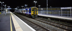 Wide Angle Fart Car In The Night (kevaruka) Tags: ilkeston derbyshire station evening twilight trains train transport autumn september 2018 colour colours color colors flickr thephotographyblog front page telephoto dof depth bokeh england class 66 60 43 canon eos 5d mk3 70200 f28 is mk2 5d3 5diii red yellow 60011 tree railroad sky locomotive