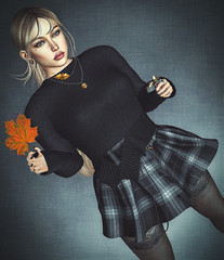 Bonfire! (Sparkle Mocha) Tags: chicchica fan lighter iconic miaa the liaison collaborative giz seorn evelyn black tartan fameshed midna susan necklace ponytail long hair blonde skirt sweater lacetights leaf leaves firestorm secondlife acorn blogging blogger blog wispybangs