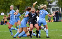 Goalie sandwich (stephencharlesjames) Tags: womens sports college sport soccer action middlebury vermont tufts ncaa
