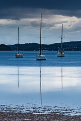 Overcast Morning on the Bay with Boats (Merrillie) Tags: daybreak sunrise nature australia drizzly tascott overcast boats nsw newsouthwales wet koolewong morning brisbanewater dawn cloudy water landscape earlymorning coastal clouds sky waterscape bay centralcoast outdoors foreshore