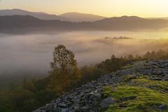 Great Langdale (l4ts) Tags: landscape cumbria lakedistrict greatlangdale elterwater chapelstile goldenhour sunrise mist temperatureinversion quarry