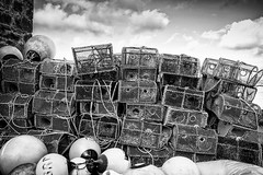 creels, badachro (colskiguitar) Tags: creels lobsterpot badachro jetty westerross scotland fishing bnw mono