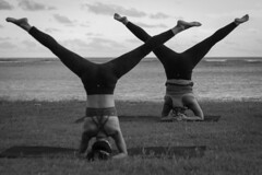 Twin Supported Headstands (Corey Rothwell) Tags: yoga head stand headstand pose beach oahu hawaii honolulu yogalife