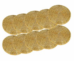 Handmade Gold Beaded Tea Coasters (mywowstuff) Tags: gifts gift ideas gadgets geeky products men women family home office