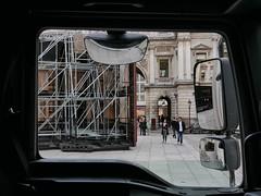 This is Art (roadscum) Tags: england london picadilly royalacademyofarts corneliaparker psycobarn man lorry cab mirrors door window