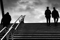 Ups and downs / the city of shadows (Özgür Gürgey) Tags: 2017 50mm bw baumwall d750 hamburg nikon sylvester architecture clouds highcontrast lines people silhouettes sky steps street stairs