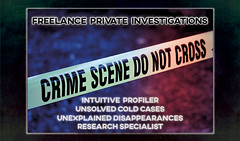 FREELANCE PRIVATE INVESTIGATIONS - SOLVING THE UNEXPLAINED (Business Card) Graphic Design image for my beautiful wife's PI firm.  #ExploringTheArtOfImagination #zenmountainmedia.com ©Cody Jacobson - zenmountainmedia.com (codyjacobson@zenmountainmedia.com) Tags: exploringtheartofimagination zenmountainmedia graphic design business card detective private investigator crime scene criminal profiler intuitive unsolved cold case red blue green texture gritty grunge photoshop camera raw filters forensics csi blur bokeh neon