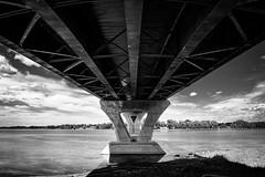 Under the Bridge (Nicholas Erwin) Tags: bridge architecture contrast detail lakechamplainbridge lakechamplain blackandwhite monochrome bw mono infrastructure concrete panorama panoramic fujifilmxt2 fujixt2 fujifilm fuji xt2 xf23mmf2 xf23mmf2rwr crownpoint newyork ny unitedstatesofamerica usa america fav10 fav25