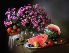Still life with flowers and fruit (Tatyana Skorokhod) Tags: stilllife bouquet flowers asters watermelon grapes fruit decor