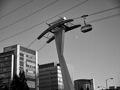 Portland Aerial Tram - Portland Oregon. (coljacksg) Tags: tram aerial portland skycar sky cable monochrome bw skyline ohsu oregon moon