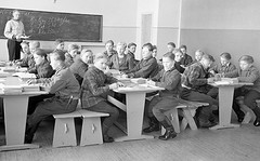 Class Photo (theirhistory) Tags: class school form pupils teacher boy children kids jumper trousers jacket shoes wellies desk seating wellingtonboots
