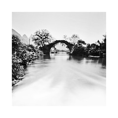 Yangshuo, China (Christian Seifert) Tags: yangshuo china long exposure pentax 645n 35mm f35 wide angle medium format bridge black white film iso100 fuji fujifilm acros