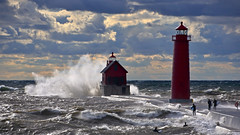 Surfs Up! (09 21 2018) (PhotoDocGVSU) Tags: grandhavenmi lighthouse lakemichigan greatlakes gale storm windy waves canon5d3 sigma50500os bigma surfing