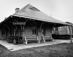 New Oxford Depot (John Ilko) Tags: 500px depot train pennsylvania pa station oldbuilding oldstructure transportation monochrome blackwhite xe2 18mm travel rt30