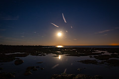 Moon rising (dan mathias) Tags: moon magical amateur channel photography whitecliffes nightphotographer beach twilight english goldenhour reflections cliffe dover landscape ocean rockpool sonya7ii seascape sea sand zeiss zeiss1635