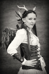 Portrait of Stephanie at Lincoln's Asylum X Steampunk Festival (Gordon.A) Tags: lincolnshire lincoln castle asylum x asylumx 2018 theasylum steampunk steam punk weekend convivial lincolnasylum lincolnasylumsteampunk festival festiwal festivaali festivalen festspiele alternative victorian neovictorian fashion culture subculture creative costume lady woman people face event eventphotography amateur street photography day daylight outdoor outdoors outside naturallight portrait pose posed posing town city urban mono monochrome monochromatic monotone blackandwhite bnw bw digital canon eos 750d sigma sigma50100mmf18dc