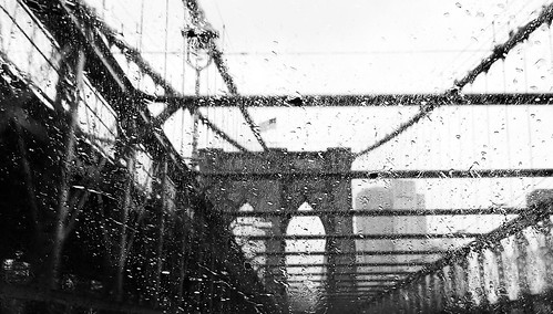 Brooklyn Bridge under the rain