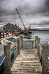 The Wrecking Crew at Work (donnieking1811) Tags: massachusetts edgartown pier dock buildings crane rafts boat outdoors sky clouds hdr canon 60d lightroom photomatixpro