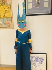 N with cardboard rabbit mask (mc1984) Tags: mc1984 cardboard mask rabbit art kid stickers activity