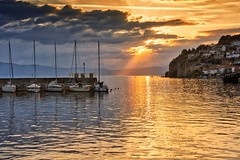 0859 Ohrid Sunset (Hrvoje Simich - gaZZda) Tags: sky clouds sunrays rays sun reflections boats water lake city buildings sunset outdoors landscape waterscape travel ohrid macedonia europe nikon nikond750 nikkor283003556 gazzda hrvojesimich