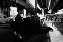 A city 547 (soyokazeojisan) Tags: japan osaka bw city street people blackandwhite monochrome analog olympus m1 om1 21mm film trix kodak memories 1970s 1974