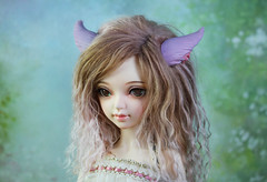 Miqo'te ear and tail commission (Sparrow ♪) Tags: sparrows shop sparrow bjd minifee sarang ears tail miqote final fantasy ff pink flowers pearls