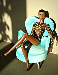 Moon and Stars 🌙 ⭐️ (Deejay Bafaroy) Tags: fashion royalty fr integrity toys doll barbie nadja portrait porträt black outofsightnadjar outofsightnadja outofsight nuface turquoise türkis miniature miniatur 16 scale playscale chair armchair sessel sunny sonnig