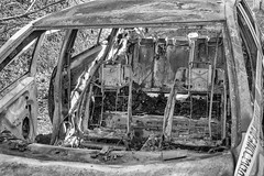 Burnt out (Marion McM) Tags: car interior burnt monochrome blackandwhite canoneos760d