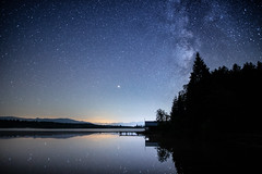 end of summer-end of milky ways.... (Moni E) Tags: milkyway star stars night summer lake bavaria bayern germany eos canon canon6dmarkii nature atmosphere sky kirchsee reflection water mountains fog dusk mist nebel blue