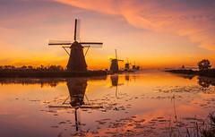 Kinderdijk (P.Tob-Ys) Tags: morning sunrise windmill landscape water nature sky color summer kinderdijk