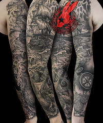 Pirate Ship pirates Black Pearl Sea Ocean Galleon Storm Sky Lightening Realistic 3D Waves Sleeve Tattoo by Jackie Rabbit