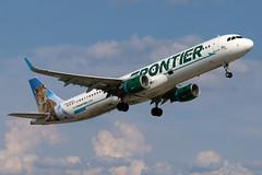 N706FR FRONTIER A321-211SL at KCLE (GeorgeM757) Tags: n706fr a321211sl aircraft alltypesoftransport aviation airplane airport airbus kcle georgem757 24r takeoff
