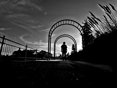 fall in the air... (明遊快) Tags: silhouette street clouds sky bridge outside art light park people bw blackandwhite japan shadows lines