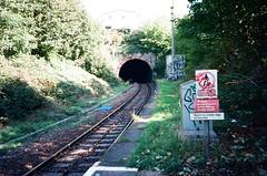 Looking down the tracks (knautia) Tags: montpelierstation montpelier bristol england uk september 2018 film ishootfilm olympus xa2 olympusxa2 kodak ektar 100iso nxa2roll78 railway trainstation railwaystation station tunnel