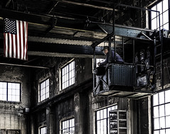 024693763835-105-Crane Operator-1 (Jim There's things half in shadow and in light) Tags: america americanflag ely nevada nevadanorthernrailwaymuseum people southwest usa whitepinecounty crane history locomotive machine man museum rail steam work worker